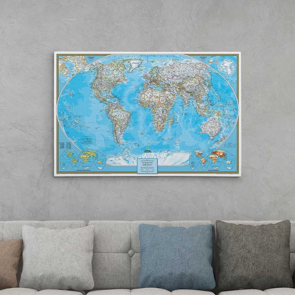 24x36 Gallery Wrapped Classic World Push Pin Travel Map