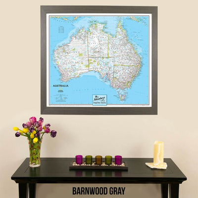 Canvas National Geographic Classic Australia pin board travelers map with pins in barnwood gray frame