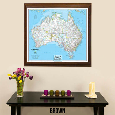 Canvas Classic Australia Nat Geo framed wall map for pinning brown frame