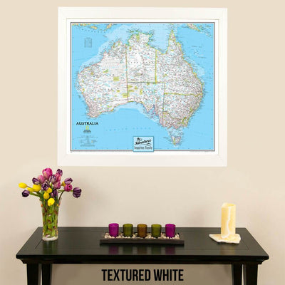 Canvas Classic Australia Push Pin Travel Map with map marking pins in textured white frame