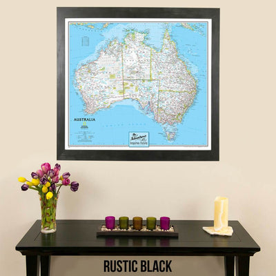 Canvas Classic Australia Push Pin Travel Map with thumb tacks in rustic black frame