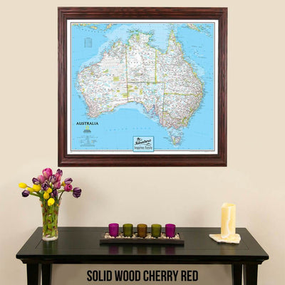 Canvas Classic Australia Push Pin Travel Map wall art in solid wood cherry frame