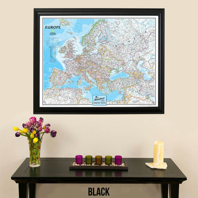 Canvas Classic Europe push pin map black frame