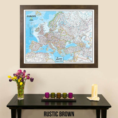 Canvas Classic Europe Travelers Map with pins in rustic brown frame
