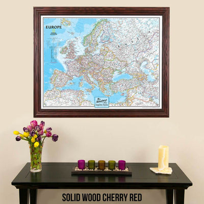 Canvas Classic Europe Push Pin Travel Map with map tacks solid wood cherry frame