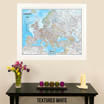 Canvas Classic Europe Push Pin Travel Map textured white frame