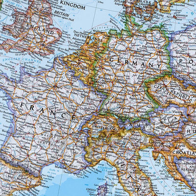 Canvas Classic Europe Push Pin Travel Map closeup