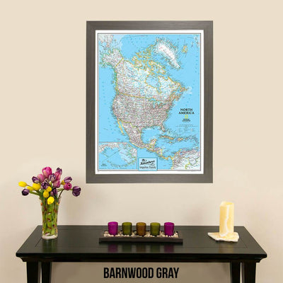 Canvas Classic North America National Geographic Push Pin Travelers Map with pins in sleek barnwood gray frame