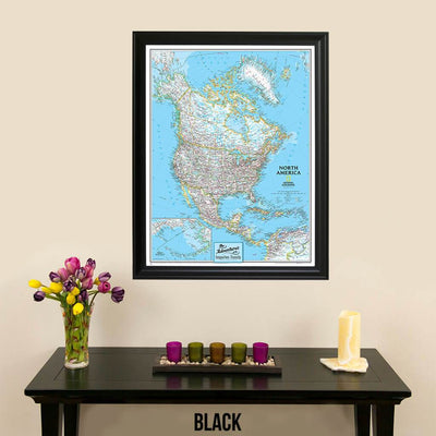 Canvas Classic North America Push Pin Travel Map with pins black frame