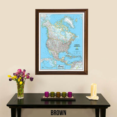 Canvas Nat Geo Classic North America Push Pin Travel Map brown frame