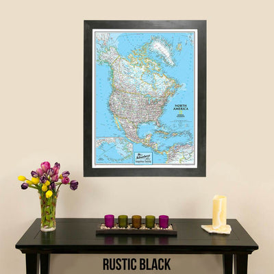 Canvas Classic North America Push Pin board Travel Map with map tacks in rustic black frame