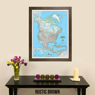 Canvas Classic North America Push Pin Travel Map wall art with rustic brown frame