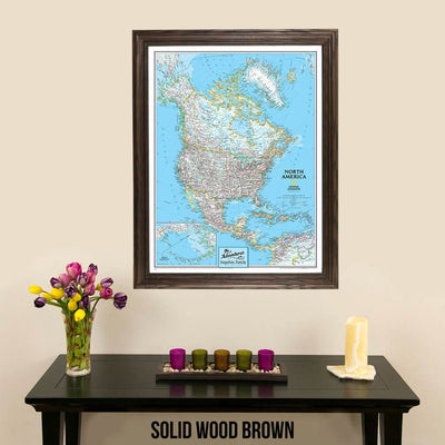 Canvas Classic North America Push Pin Travel Map in elegant solid wood brown frame