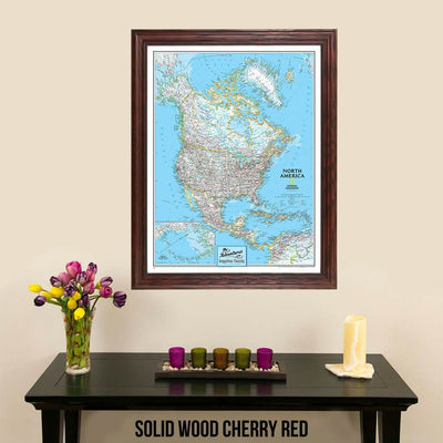 Canvas Classic North America pinnable Travel Map with map pins in solid wood cherry frame