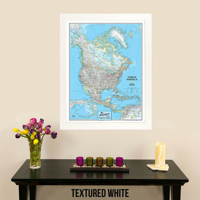 Canvas Classic North America Push Pin Travel Map Textured White frame