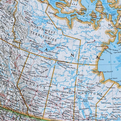 Canvas Classic North America Push Pin Wall Map Close-up