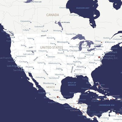 Closeup of the USA on the Navy Explorers World Map