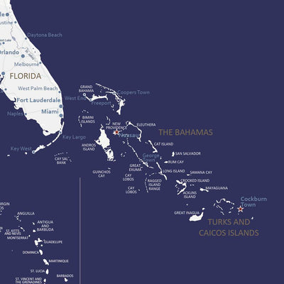 Navy Explorers USA Map close up of Bahamas