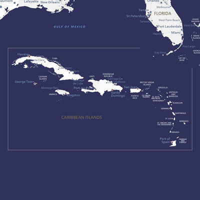 Close up of Caribbean - Navy USA Caribbean map on canvas