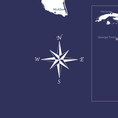 Close up of Compass - Navy US Caribbean Map