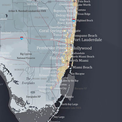 Push Pin Travel Maps Florida State Slate Colored Map with pins Closeup of East Coast
