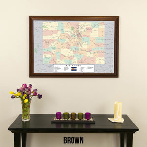 Colorado Push Pin Travel Map in Brown Frame