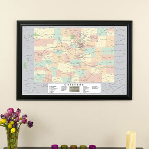Colorado Push Pin Travel Map in Black Frame