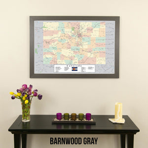 Colorado Push Pin Travel Map in Barnwood Gray Frame