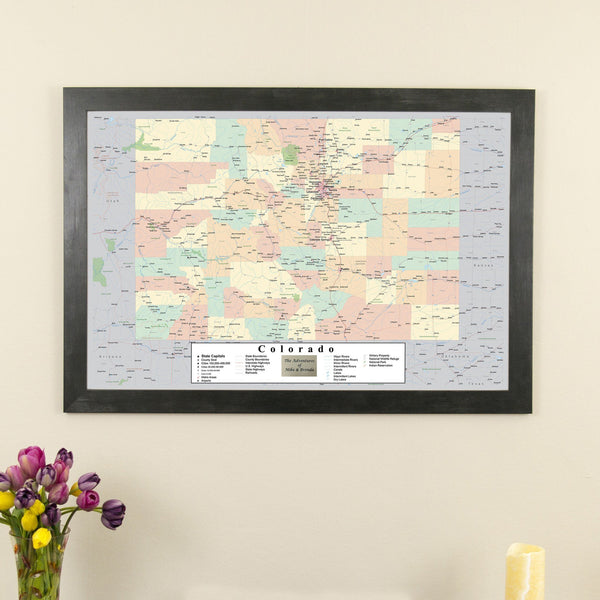 Colorado Push Pin Travel Map in Rustic Black Frame