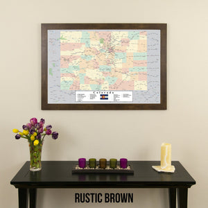 Colorado Push Pin Travel Map in Rustic Brown Frame
