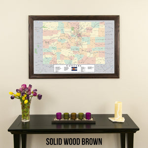 Colorado Push Pin Travel Map in Solid Wood Brown Frame