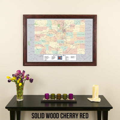 Colorado Push Pin Travel Map in Solid Wood Cherry Red Frame