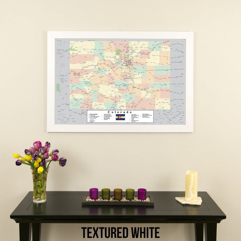 Colorado Push Pin Travel Map in Textured White Frame
