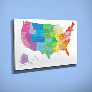 Gallery Wrapped - Colorful USA Travel Map with pins