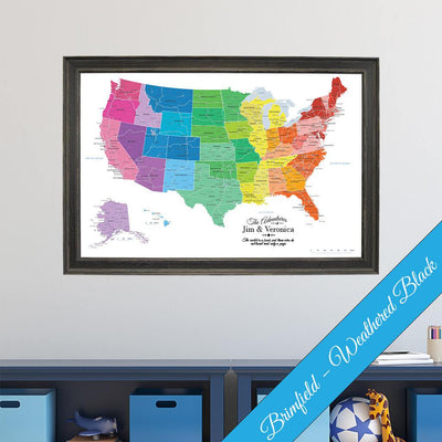 Canvas - Colorful USA Travel Map with pins