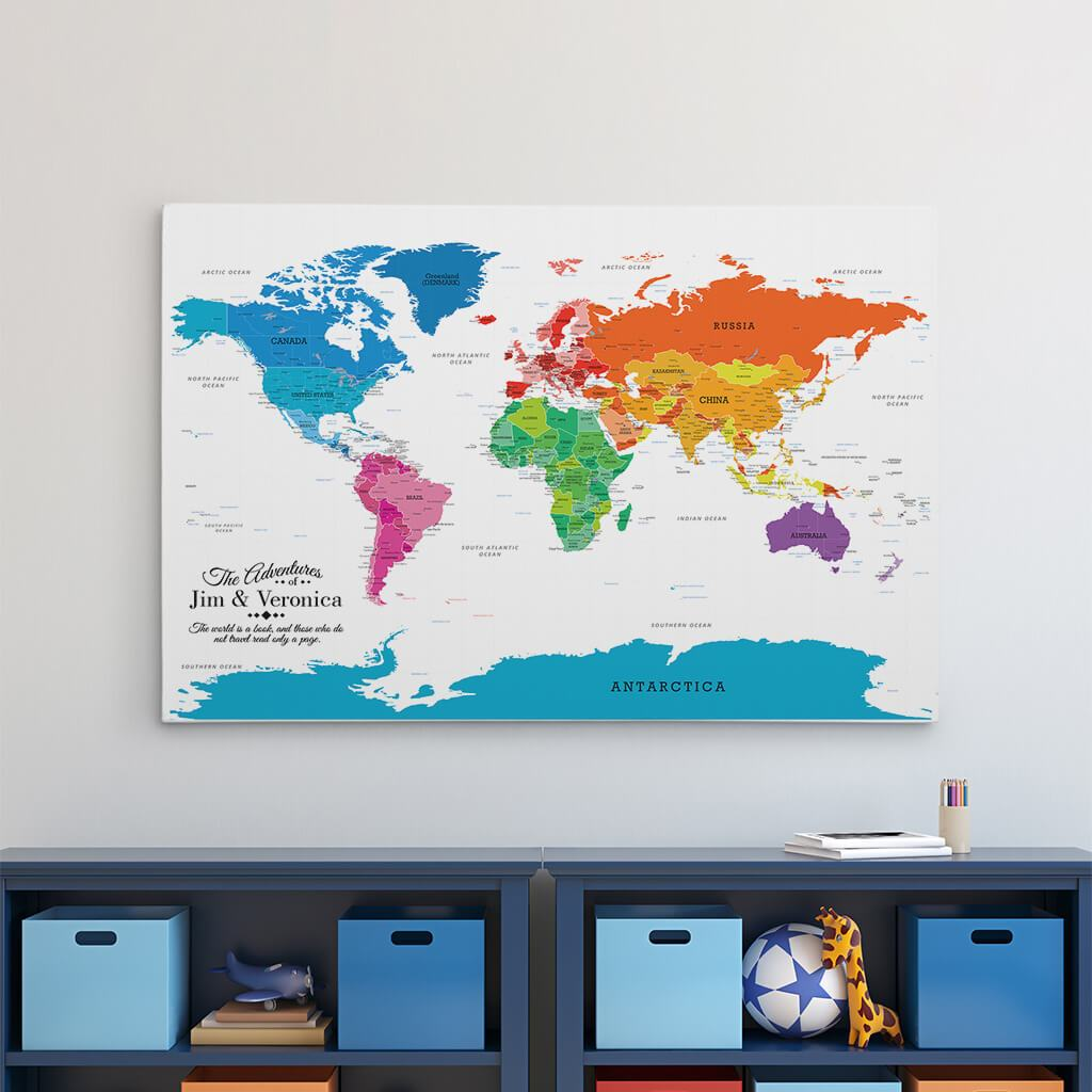 24x36 Gallery Wrapped Colorful World Push Pin Travel Map