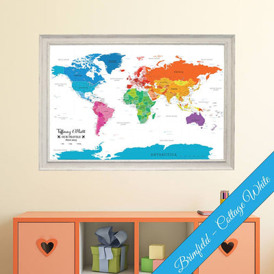 Colorful World Canvas Map in Brimfield Cottage White Frame