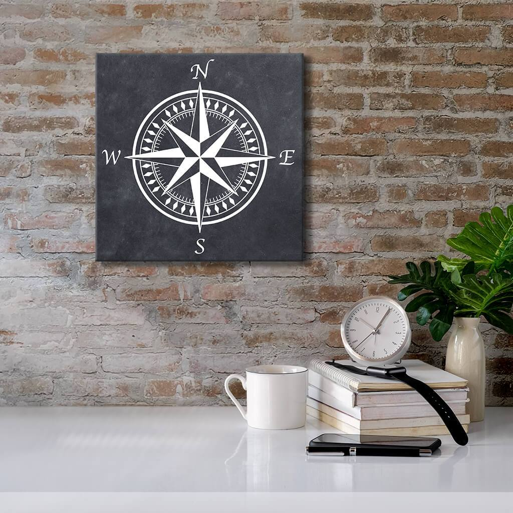 Compass Rose with Dark Background - Canvas Wall Decor