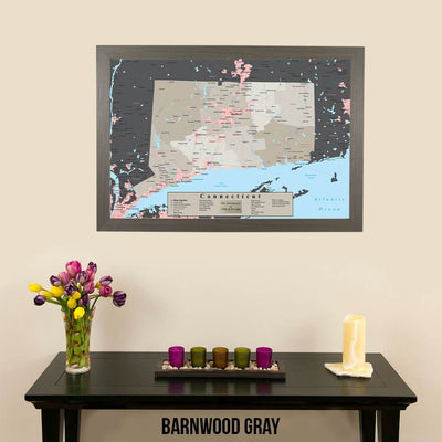 Earth Toned Connecticut State Travel Map Barnwood Gray Frame