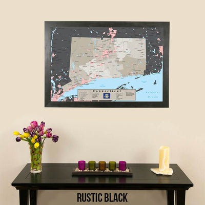 Earth Toned Connecticut State Travel Map Rustic Black Frame