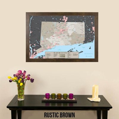 Earth Toned Connecticut State Travel Map Rustic Brown Frame