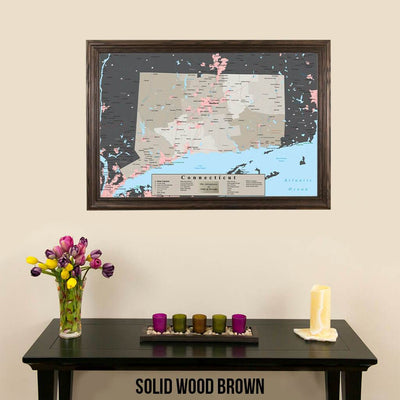 Earth Toned Connecticut State Travel Map Solid Wood Brown Frame