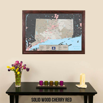 Earth Toned Connecticut State Travel Map Solid Wood Cherry Frame