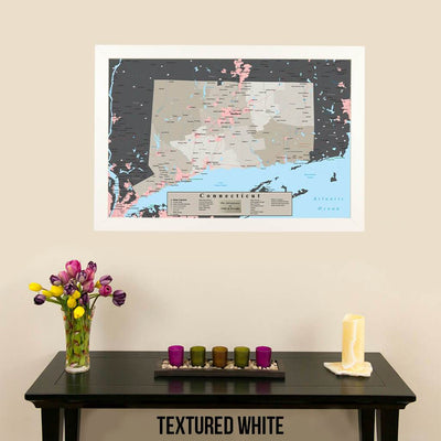 Earth Toned Connecticut State Travel Map Textured White Frame