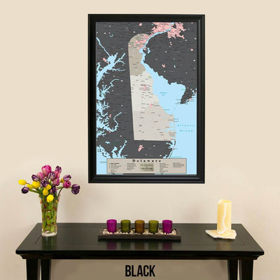 Earth Toned Delaware State Pin Map Black Frame