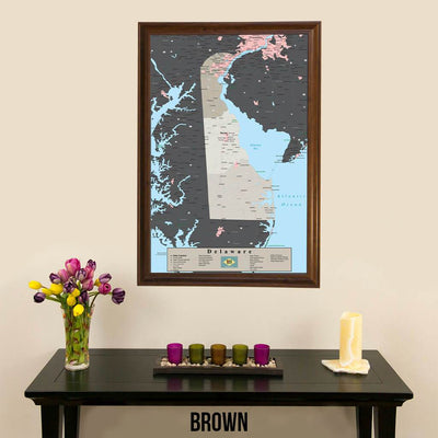Earth Toned Delaware State Pin Map Brown Frame