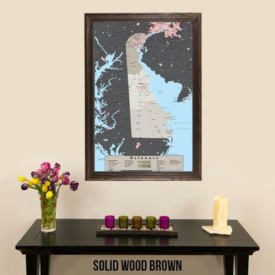 Earth Toned Delaware State Pin Map Solid Wood Brown Frame