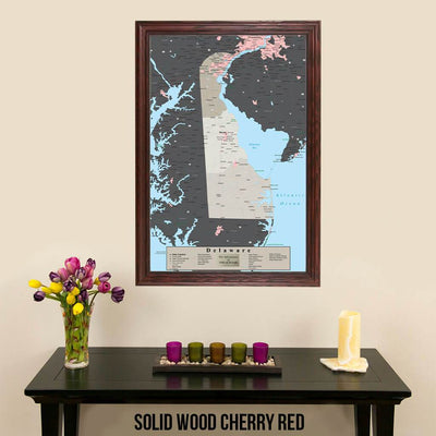 Earth Toned Delaware State Pin Map Solid Wood Cherry Frame