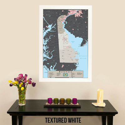 Earth Toned Delaware State Pin Map Textured White Frame