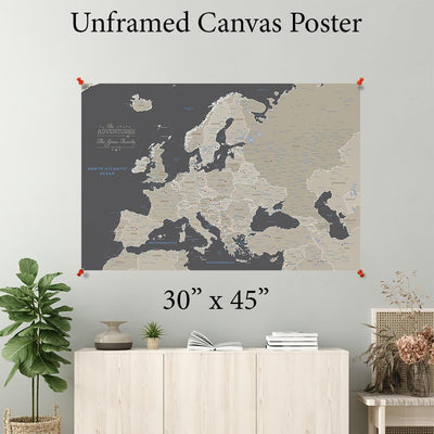 Earth Toned Europe Canvas Poster 30 x 45